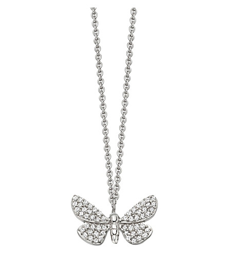Astley Clarke CINNABAR PAPILLON 14CT WHITE-GOLD AND DIAMOND NECKLACE