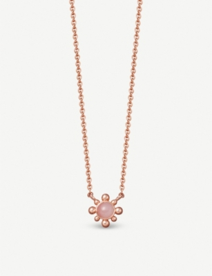 ASTLEY CLARKE Floris mini 18ct gold-plated pink opal pendant necklace
