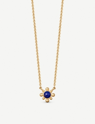 ASTLEY CLARKE Floris mini 18ct yellow gold-plated lapis pendant necklace