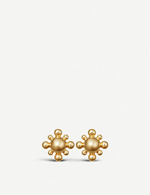 ASTLEY CLARKE Floris mini yellow-gold vermeil stud earrings
