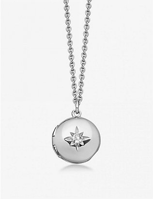 ASTLEY CLARKE: Small Astley 18ct sterling silver and white sapphire locket