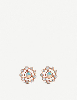 ASTLEY CLARKE Icon Nova 14ct rose-gold, diamond and opal stud earrings