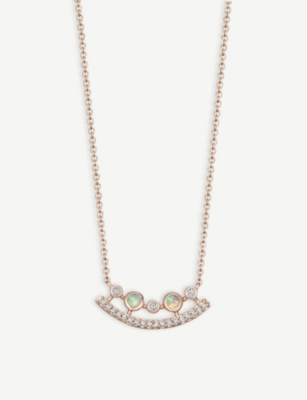 ASTLEY CLARKE Icon Nova ellipse 14ct rose-gold, diamond and opal necklace