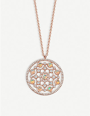 ASTLEY CLARKE: Icon Nova large oval 14ct rose-gold pendant necklace