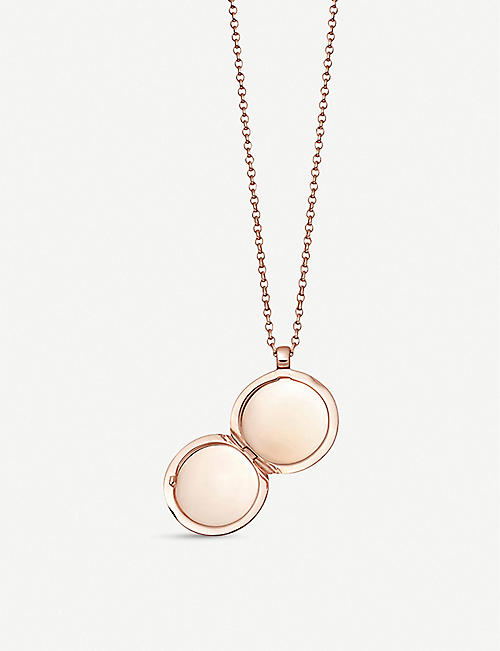 ASTLEY CLARKE White sapphire and 18ct rose-gold vermeil locket necklace