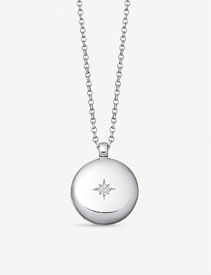 ASTLEY CLARKE White sapphire and sterling silver locket necklace