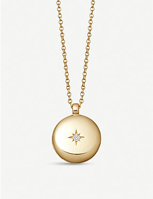 ASTLEY CLARKE: Medium Astley 18ct yellow gold vermeil and white sapphire locket