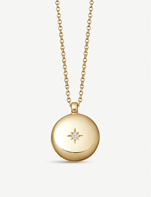 ASTLEY CLARKE Medium Astley 18ct yellow gold vermeil and white sapphire locket