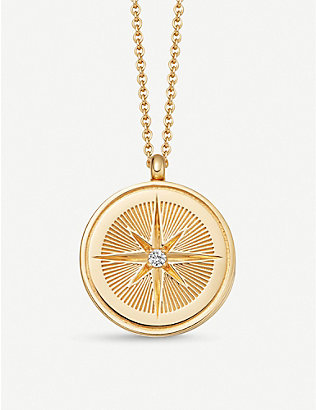 ASTLEY CLARKE: Celestial Compass 18ct yellow-gold vermeil and sapphire necklace