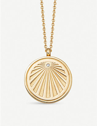 ASTLEY CLARKE: Celestial Sunrise 18ct yellow gold-plated vermeil silver and sapphire necklace