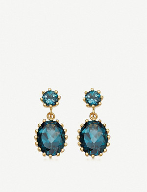 ASTLEY CLARKE Linia 18ct gold-plated silver and topaz drop earrings