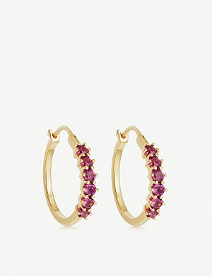 ASTLEY CLARKE Linia 18ct gold-plated silver and rhodolite hoop earrings