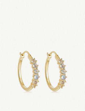 ASTLEY CLARKE Linia 18ct gold-plated silver and moonstone hoop earrings