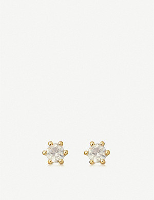 ASTLEY CLARKE Linia moonstone and 18ct gold-plated sterling silver stud earrings
