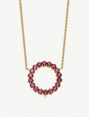 ASTLEY CLARKE Linia 18ct yellow gold-plated rhodolite pendant necklace
