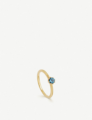 ASTLEY CLARKE Linia 18ct yellow gold-plated mini London blue topaz ring