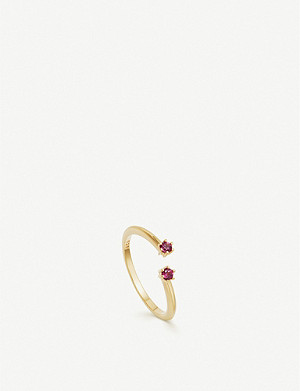 ASTLEY CLARKE Linia 18ct yellow gold-plated rhodolite open ring