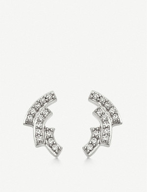 ASTLEY CLARKE Icon Scala 14ct white-gold and pavé-set diamond stud earrings
