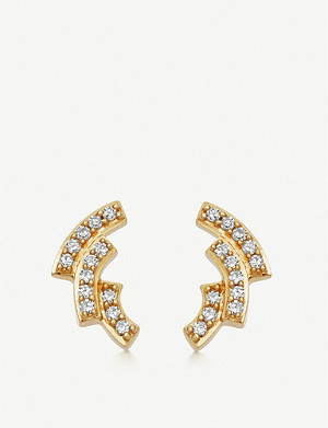 ASTLEY CLARKE Icon Scala 14ct gold and pavé-set diamond stud earrings