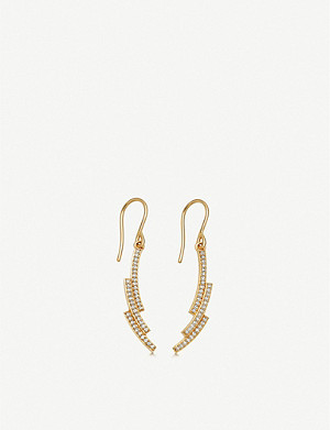ASTLEY CLARKE Icon Scala 14ct gold and pavé-set diamond drop earrings