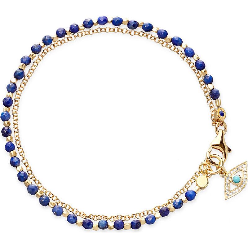 ASTLEY CLARKE Evil Eye Lapis Friendship Bracelet in Gold With Blue