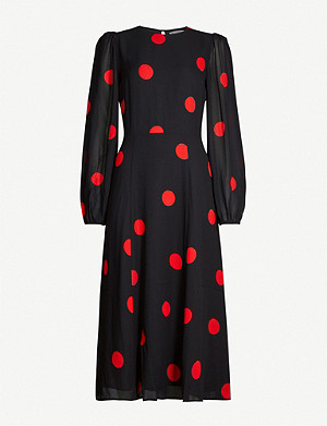 REFORMATION Luanne polka dot crepe midi dress