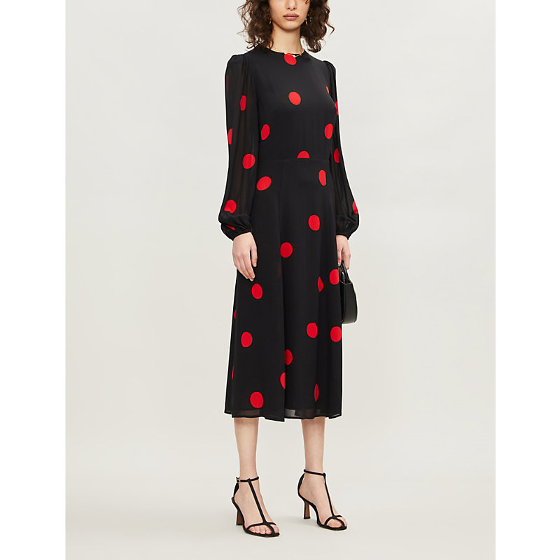 Reformation Dresses LUANNE POLKA DOT CREPE MIDI DRESS
