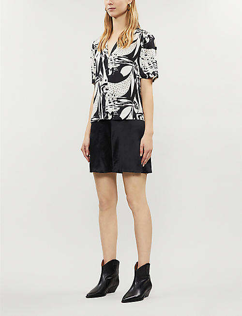 REFORMATION Tay graphic pattern silk-satin shirt