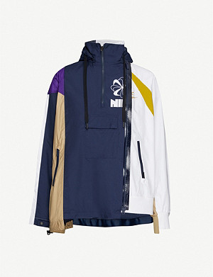 NIKE X SACAI Asymmetrical contrast-panel shell jacket