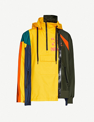 NIKE X SACAI Colour-block logo-print shell jacket