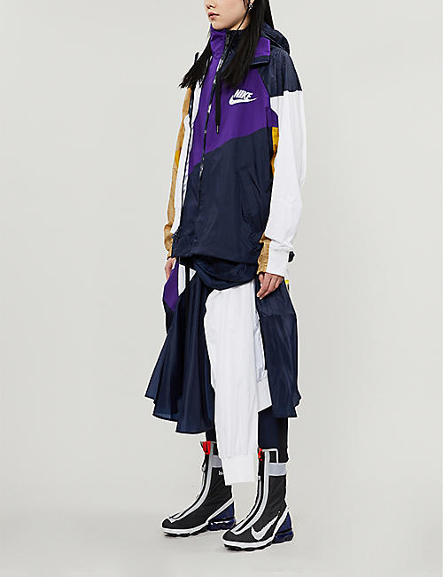 NIKE X SACAI Asymmetrical shell panel midi skirt