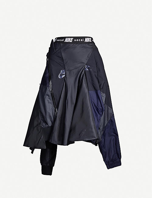 NIKE X SACAI Branded-waistband shell and mesh skirt