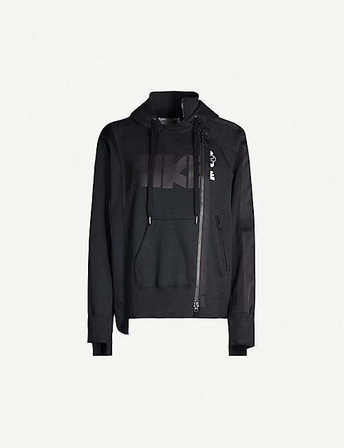 NIKE X SACAI Drawstring-hood contrast-panel cotton-blend hoody