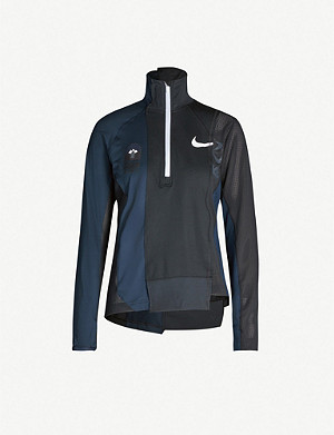 NIKE X SACAI Asymmetric branded stretch-jersey top