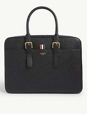 THOM BROWNE Striped tab leather laptop bag