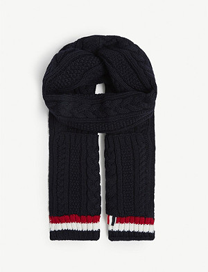 THOM BROWNE Aran cable knit pocket scarf
