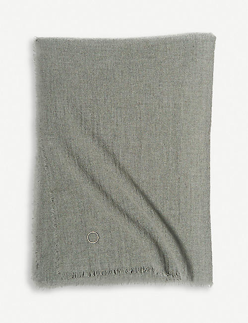 OYUNA: Moss two-tone cashmere throw 200cm x 145cm
