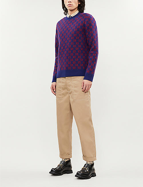 GUCCI Logo-intarsia wool-blend knitted jumper