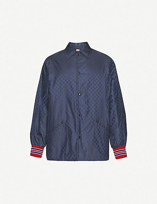 GUCCI: Brand-pattern striped-cuffs shell jacket