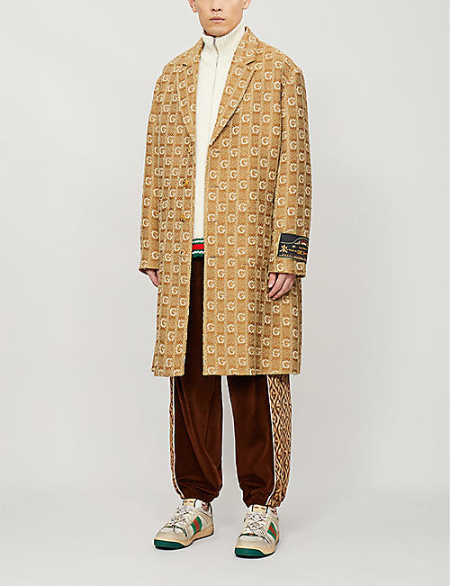 GUCCI Logo-graphic cable knit wool cardigan