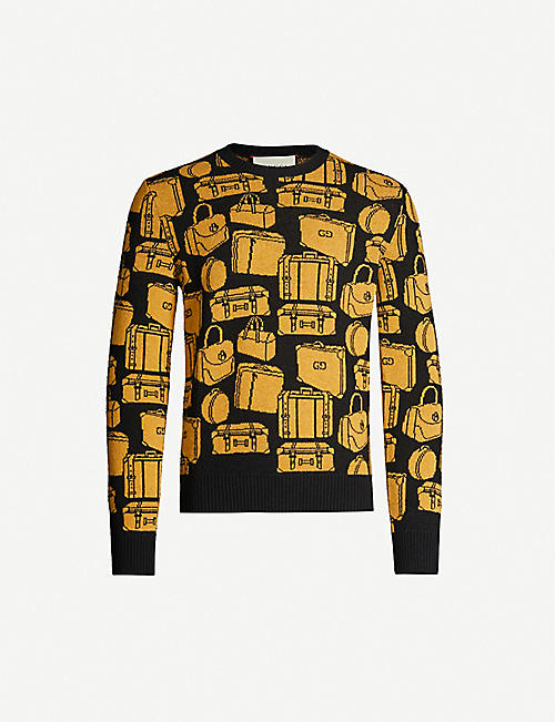GUCCI Branded-graphic crewneck wool jumper
