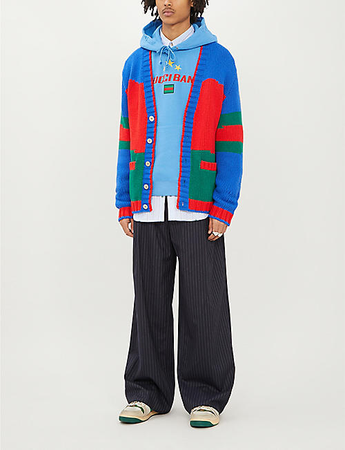 GUCCI Colour-blocked oversized wool cardigan