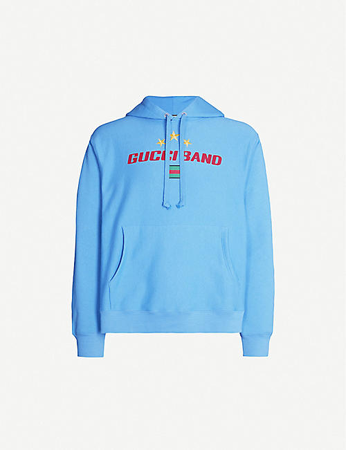 GUCCI Logo-embroidered cotton-jersey hoody