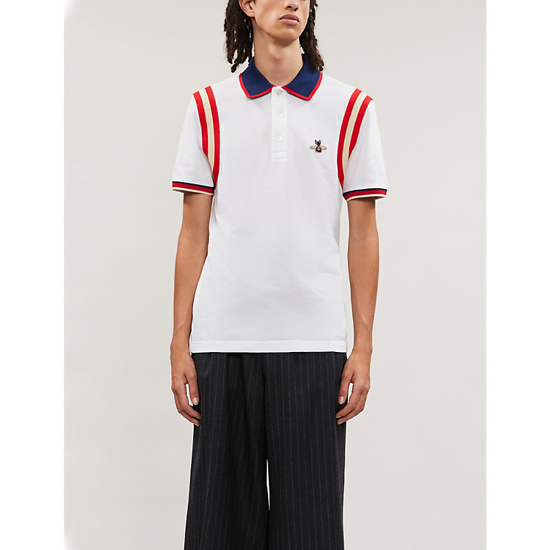 Gucci T-shirts BEE-EMBROIDERED COTTON-PIQUÉ POLO SHIRT