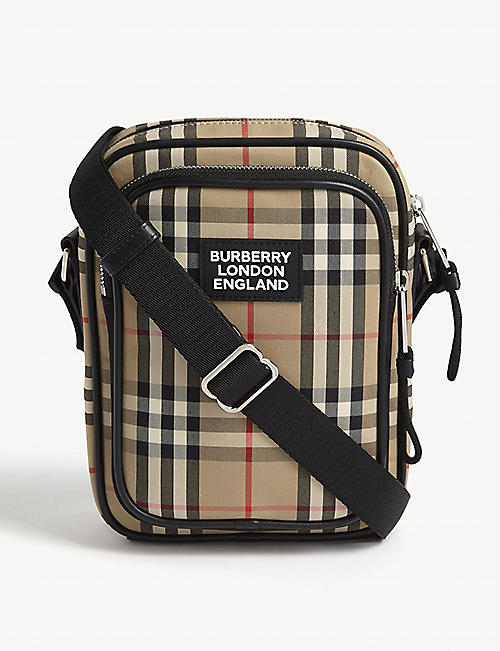 BURBERRY Freddy check canvas reporter bag
