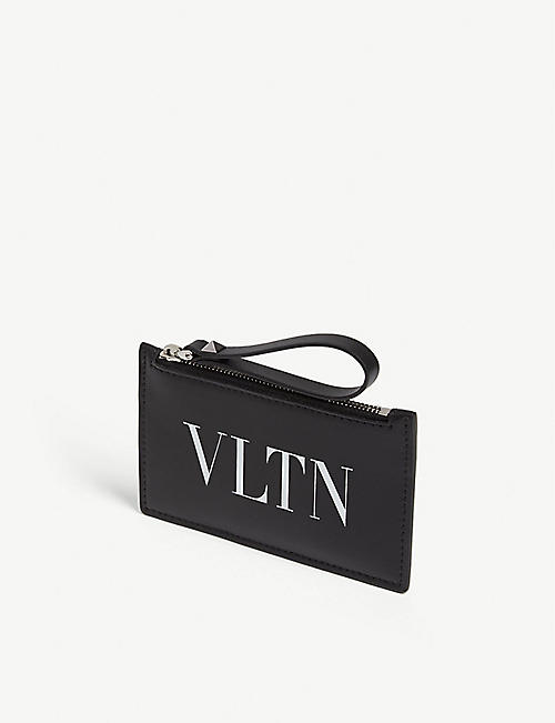 VALENTINO VLTN logo leather cardholder