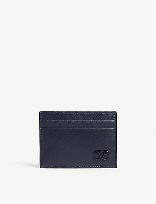 NA Mini 'V' logo leather cardholder