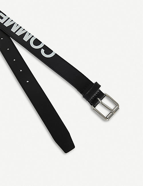 COMME DES GARCONS Contrast logo-print leather belt