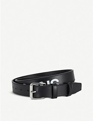 COMME DES GARCONS: Contrast logo-print leather belt