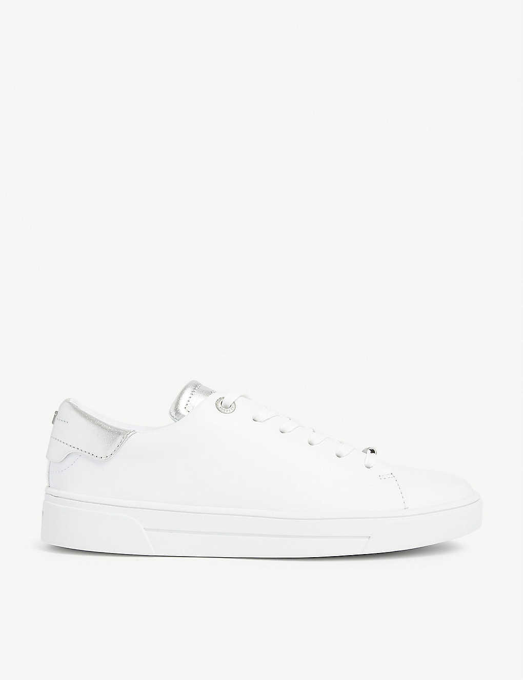 TED BAKER: Zenis metallic leather trainers